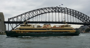 One of several old ferries operating on Sydney Harbour especially to the Manly wharf.