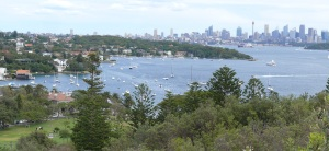 Looking across Watsons Bay to the Sydney skyline at Circular Quay.