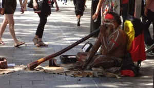 Didgeridoo player on Queen Street Mall.