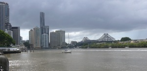 Gardens Reach of the Brisbane River looking towards the Petrie Bight and the Story Bridge.