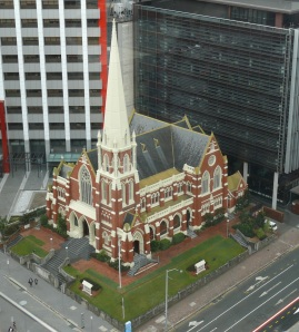 View of church from Brisbane Town Hall clock tower.