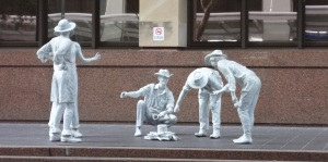 Brisbane hosted the World Expo 1988. Much of the items have been saved and are set around various streets, in museum displays or still in storage. This bush campfire sculpture was originally made in fibreglass. It has since been bronzed and spay painted white. It can be seen in Anne Street.