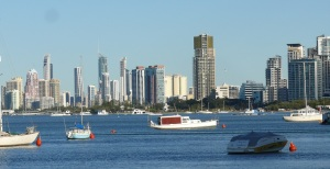The Skyline of Surfers Paradise as seen from The Broadwater at Labrador.