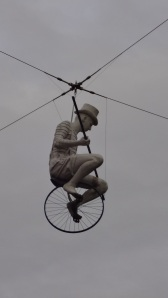 This cyclist, cast in fibreglass was installed in this spot at the Expo 88 and has been presiding over the square at what is now South Bank for 25 years.