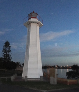 Old, restored Cleveland Point Lighthouse.