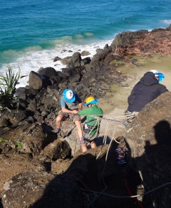 Abseiling practise and or classes at Point Dangar (or Point Danger depending on which history you read) The abseiling was done on the NSW side of the cliffs.