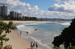 Greenmount Beach with Kirra Beach and Coolangatta high rise in the background.