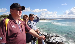 Jerry, Sue and Frank on the cliffs at Snapper Rocks.