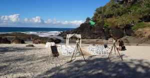 Wedding preparation on small Beach at Snapper Rocks.