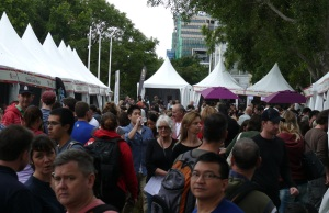 The Regional Wines area just as the rain began. Within minutes it became a sea of many coloured umbrella's.