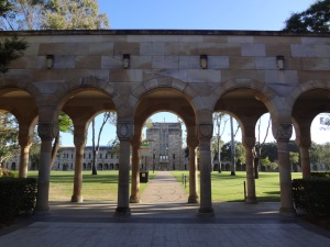 The sandstone cloisters around the UQ Great Court.