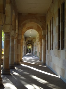 Within the cloisters.