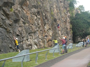 Rockclimbing at Kangaroo Point cliffs.