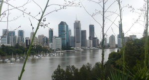 City skyline and Brisbane River seen from Hangaroo Point clifftop.
