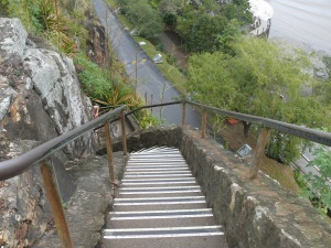 Looking down the steep cliff staircase.