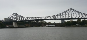 Story bridge and a converted paddle steamer on a lunch cruise.