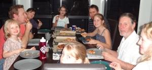 Pizza at a three family gathering.