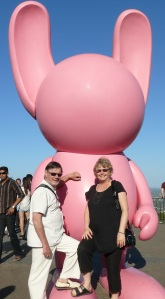 On top of Mt.Coot-Tha. These pink bunnies have been popping up in tourist hot spots around Brisbane. We have seen one in Queen Street Mall, one at Southbank and one here. I believe there are about 14 of them scattered throughout the city.