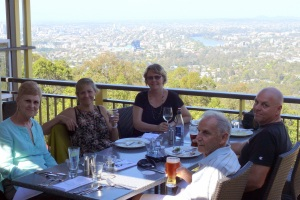 Happy diners at the Summit Restaurant Mt Coot-Tha.  From l to r Sandy (Daves Mum) my sister Sandi, Donnis Dave and Ray (Daves dad)