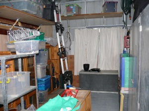Preliminary gradual packing our furniture into the garage storage bay.