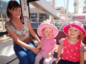 Nicole Hannah and Amelia on the ferris wheel.