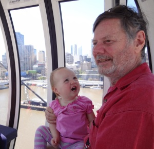 """Hannah is impressed by something """"Poppy"""" had just said. In the background you can see the huge barge from where the fireworks and associated light shows will be launched and controlled on the night of RiverFire...28th September."""