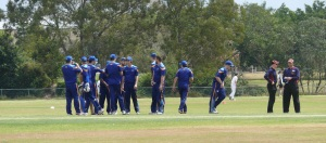 Cricket team in a huddle after dismissing a batsman. Behind the house there are three cricket grounds. You can the players in white in the next field.