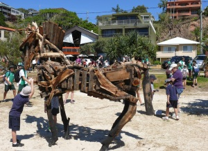 This trojan horse stood out along the beach dunes.  Note that the names of the sculptures are my names, not the names given by the artist. The artists names are confusing and often seem to have no relationship with the sculpture.
