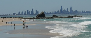 View from the Vikings Surf Club dining room looking across Currumbin Beach and Surfers Paradise in the background.