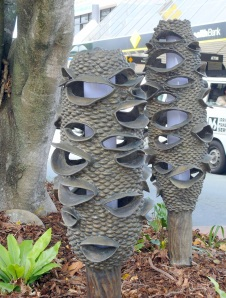 These street light covers are made from cast bronze and are created in the shape of an iconic dried Banksia cone.