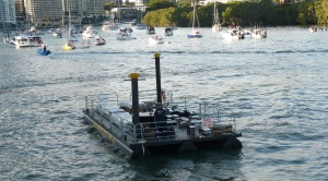 We were in sight of two of these fireworks barges several of which were located on the river. A larger barge in front of SouthBank was control central while other fireworks locfations were atop the tallest city buildings and across the Story Bridge.