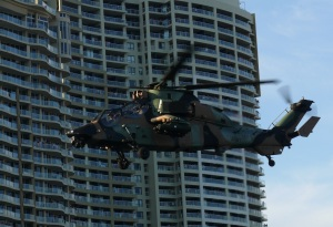 The Blackhawk helicopters were awesome, hoveringh over the river sending sprays of water over boat and shoreside spectators.