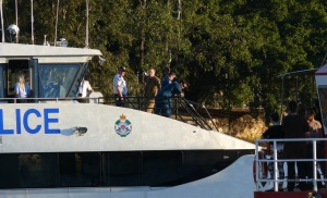 """Police Launch with """"Harry"""" aboard."""