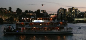 This is the Kookaburra Queen. The 3 hour cruise for the lower decks was $185 while the top deck was $220.