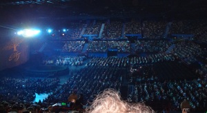 Part of the crowd at the Cirque du Soleil at Brisbane Entertainment Centre.