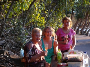 Dorothy, Donnis and Enid at Noosa Beach.