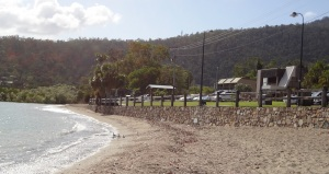 Picnic area and stone retaining wall at Cannonvale Beach
