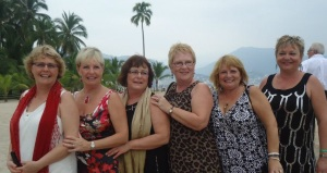 Sisters and cousins at a wedding in Mexico 2013. From Left to right sisters Donnis Linda and Joan with their cousins, sisters Jacqui, Wendy (deceased RIP Wendy) and Pat.
