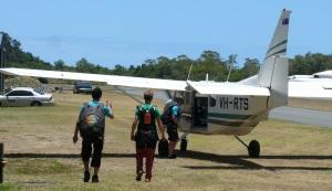 Boarding the sky dive plane.