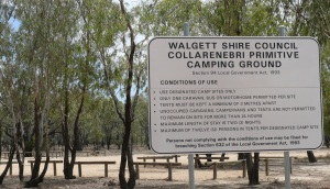 Free Primitive campsite at Colli on the Barwon River.