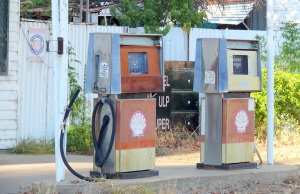 Old petrol pumps. This town once boasted 4 petrol stations and now only has one. It too is struggling to stay alive.