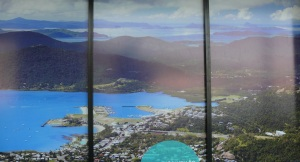 Window display showing Port of Airlie looking south to Shute Harbour.
