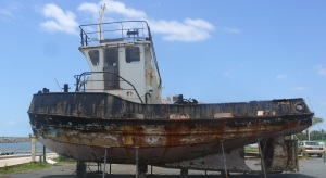 One of the tugs used in the early construction phase of the marina. Now it is probably not even worth carting away as scrap metal.