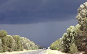 The welcome gathering storm along the Leichhardt Highway.