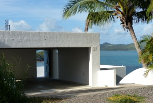 A house with a rooftop garage and view across the Whitsunday Passage at Shutehaven.