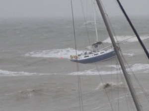 Another boat struggling in the cyclonic conditions.