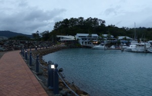 The old part of Abel Point Marina. The walk continues along the front of the buildings