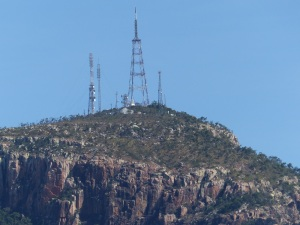 TV towers atop Mt Stuart.