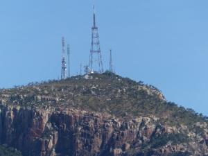 TV towers atop Mt Stuart.