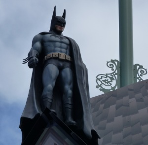 Batman Lives... on top of the asylum building.
